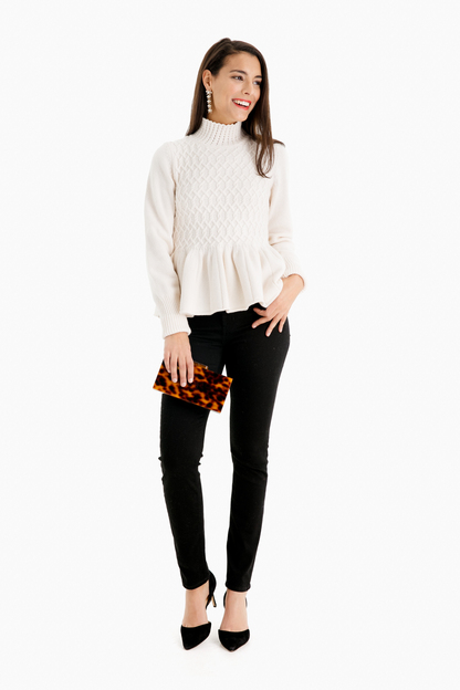 cream braided cable peplum sweater