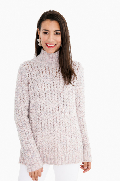 champagne pink marled cable pullover