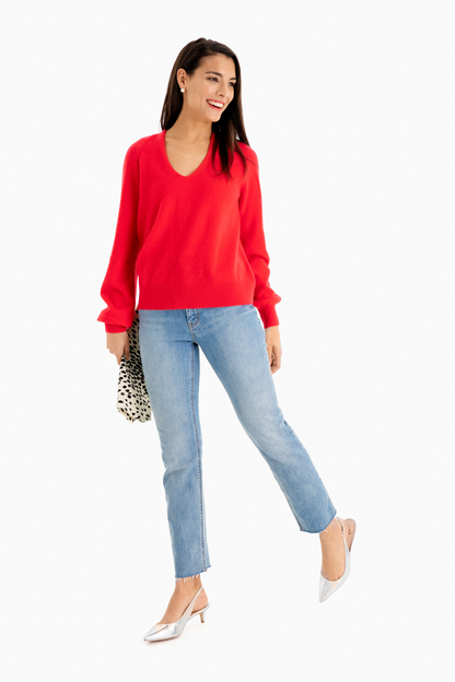 red heather blouson sleeve v-neck sweater