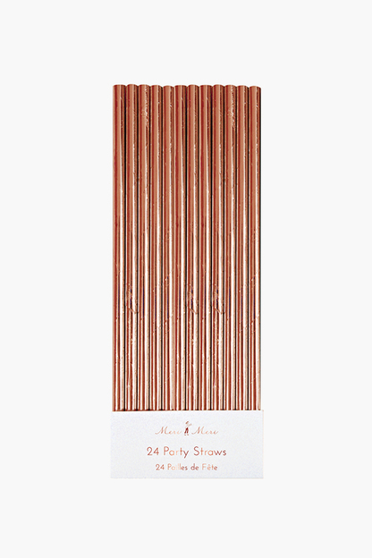 Rose Gold Foil Party Straws (set of 24)