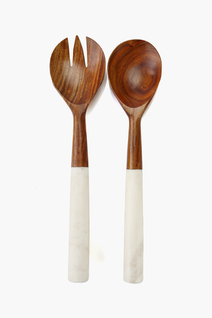 dark wood and marble serving set