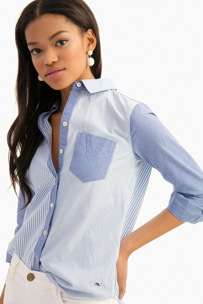 stripe mix button up