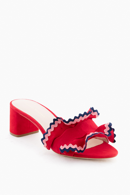 bright red vera ruffle slide