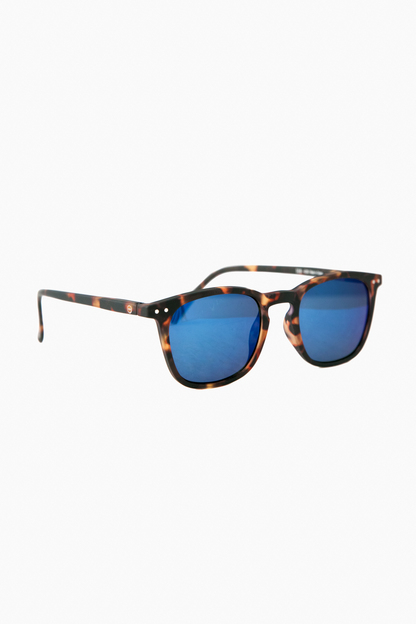 tortoise mirrored sunglasses #e with soft blue lenses