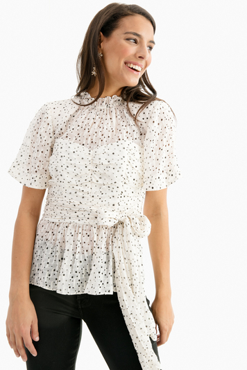 snow combo scattered star print wrap top