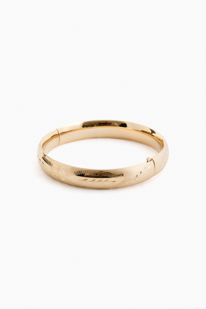 """14k Yellow Gold Classic Etched Floral Bangle (.39""""w)"""