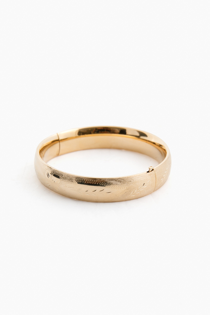 """14k Yellow Gold Classic Etched Floral Bangle (.53""""w)"""