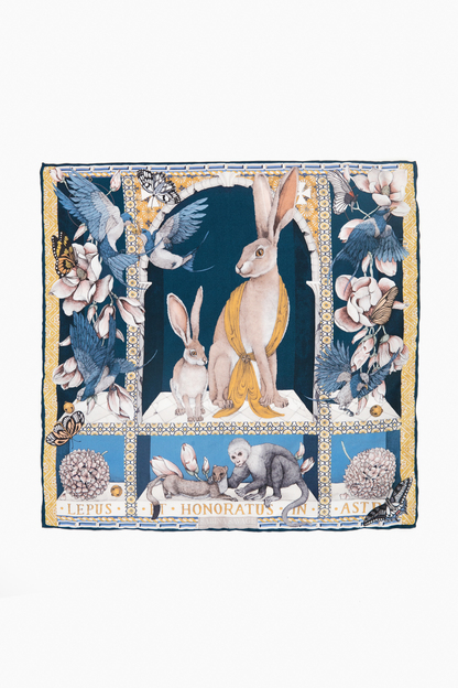 the hare's gift silk twill scarf
