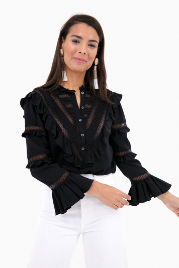 long sleeve silk and lace top