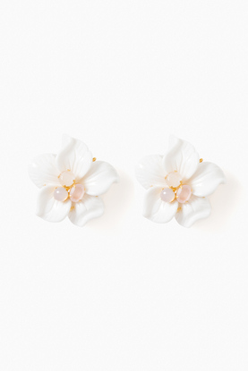 annalise carved flower clip on earrings