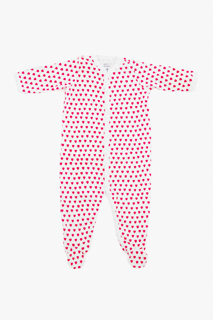 hearts infant footie pajamas