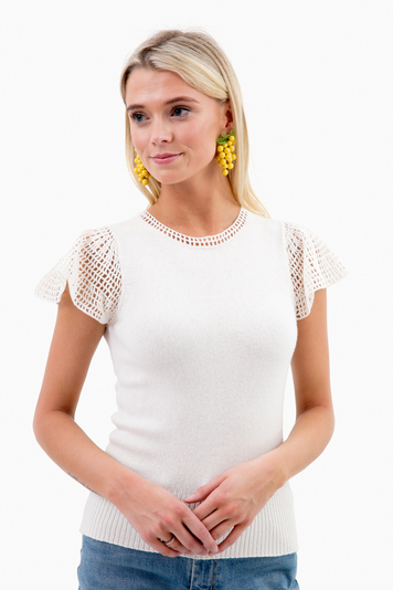 short sleeve lace stitch pullover