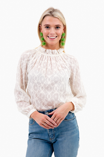 long sleeve lily embroidered top