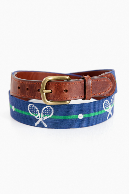 crossed racquets needlepoint belt