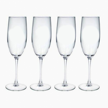 monogrammed glass champagne flutes (set of 4)
