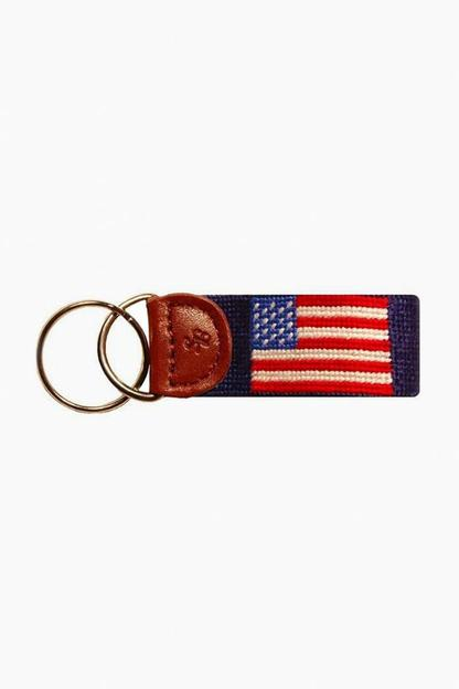 american flag needlepoint key fob