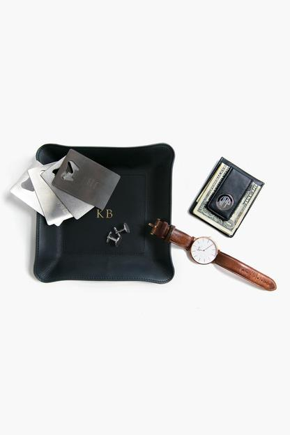 black engraved leather wallet and money clip
