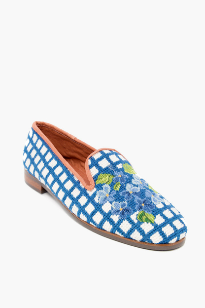 hydrangea needlepoint loafers