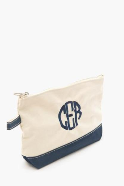 navy monogrammed canvas make-up bag
