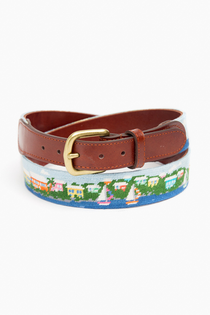 island times needlepoint belt
