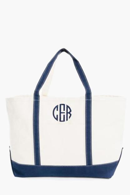 navy monogrammed large boat tote