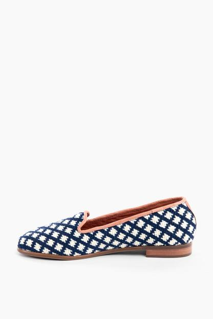 navy and white check needlepoint loafer