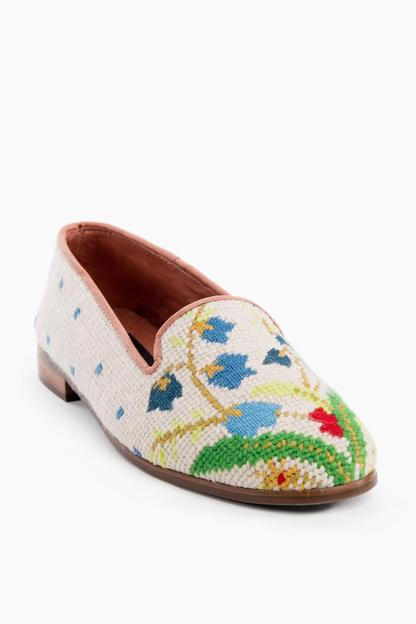 flower bouquet needlepoint loafers